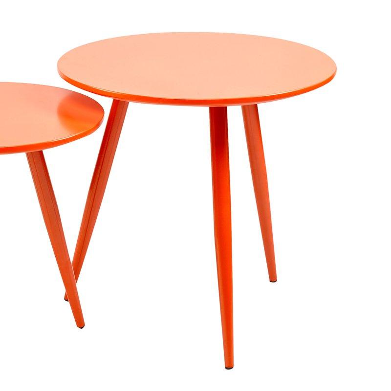 Lot De 2 Tables Basses En M Tal Et Mdf Orange Maison Et Styles