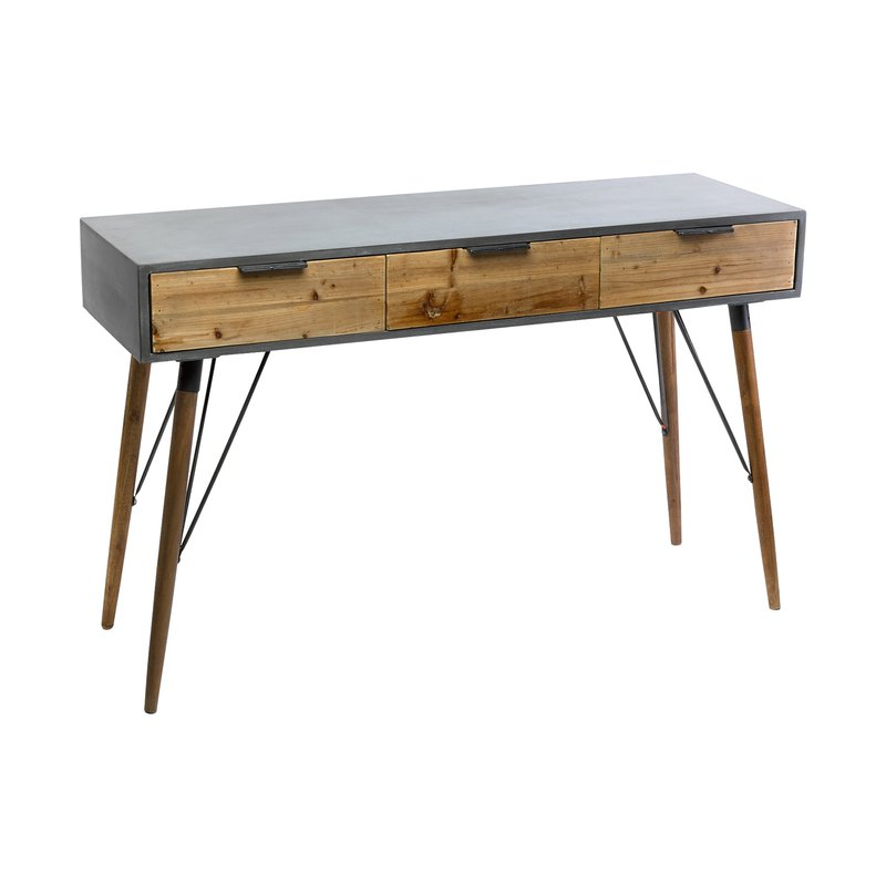 console en bois 3 tiroirs en mdfnaturel et gris 122x40x77cm maison et styles. Black Bedroom Furniture Sets. Home Design Ideas