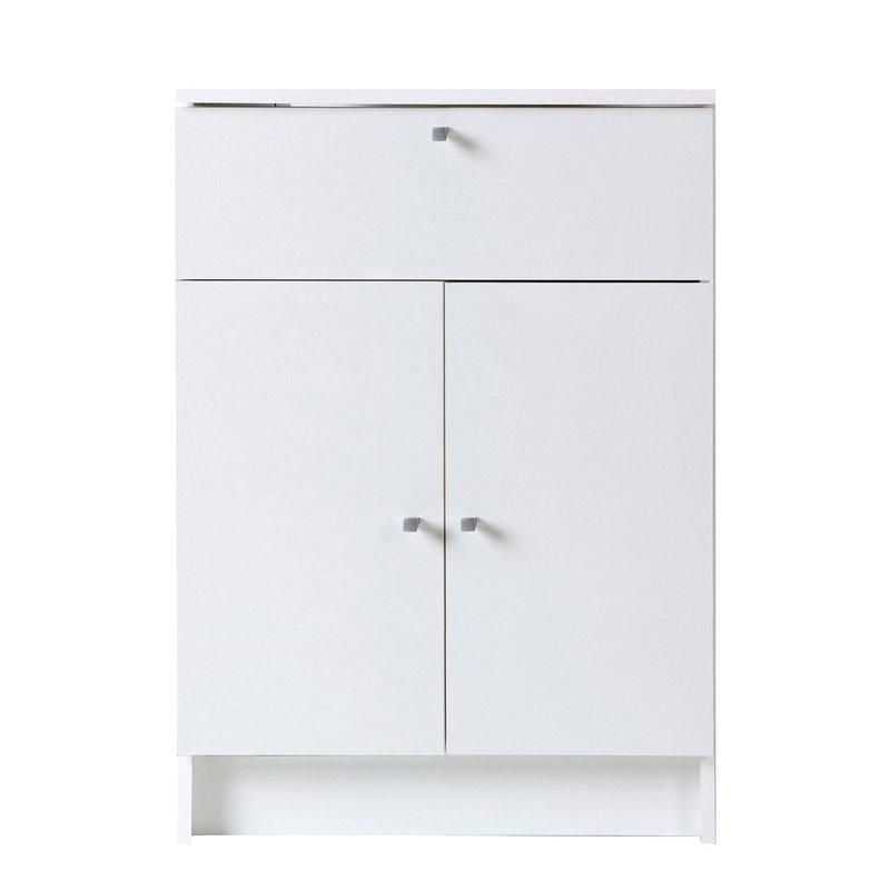 Meuble bas 2 portes 1 tiroir L59xH84xP32cm - blanc
