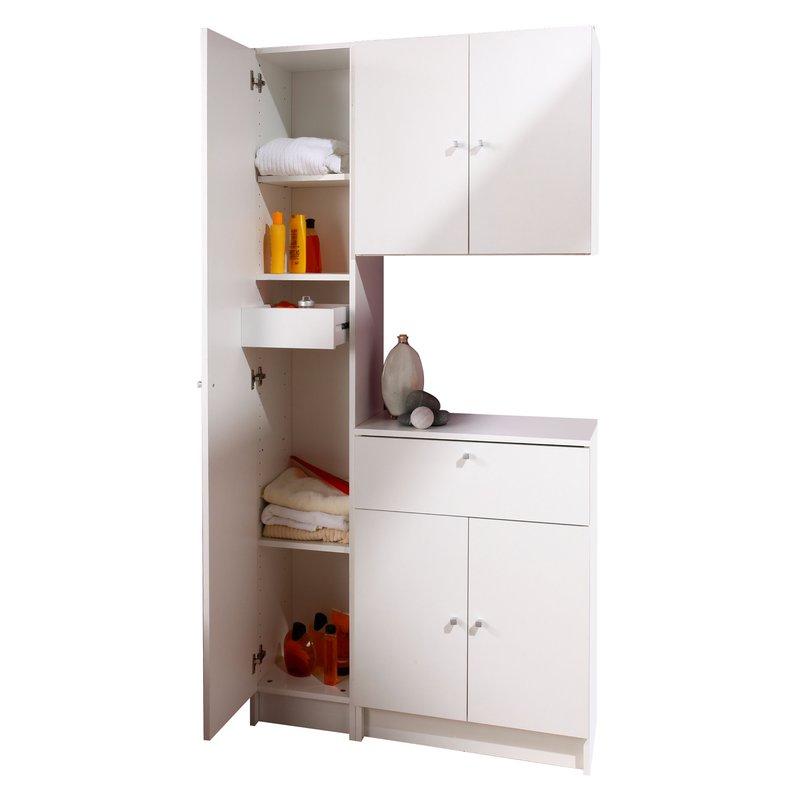 Meuble haut 2 portes l59xh56xp31cm blanc maison et styles for Meuble haut salle de bain une porte