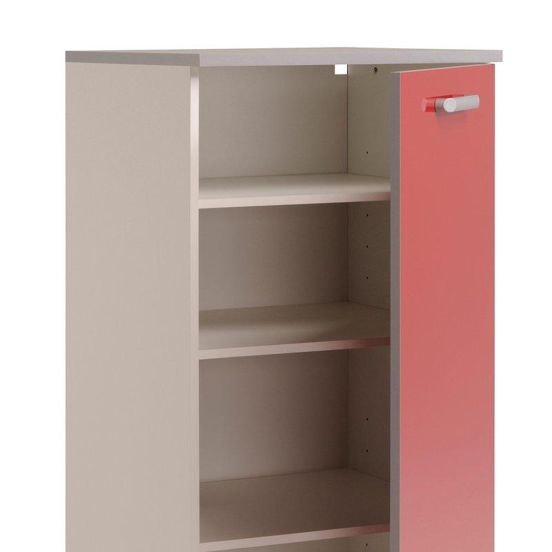 armoire de rangement 1 porte l60xh141xp60cm rouge brillant maison et styles. Black Bedroom Furniture Sets. Home Design Ideas