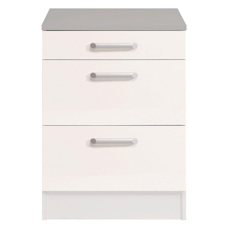 casserolier 3 tiroirs l60xh86xp60cm blanc brillant. Black Bedroom Furniture Sets. Home Design Ideas