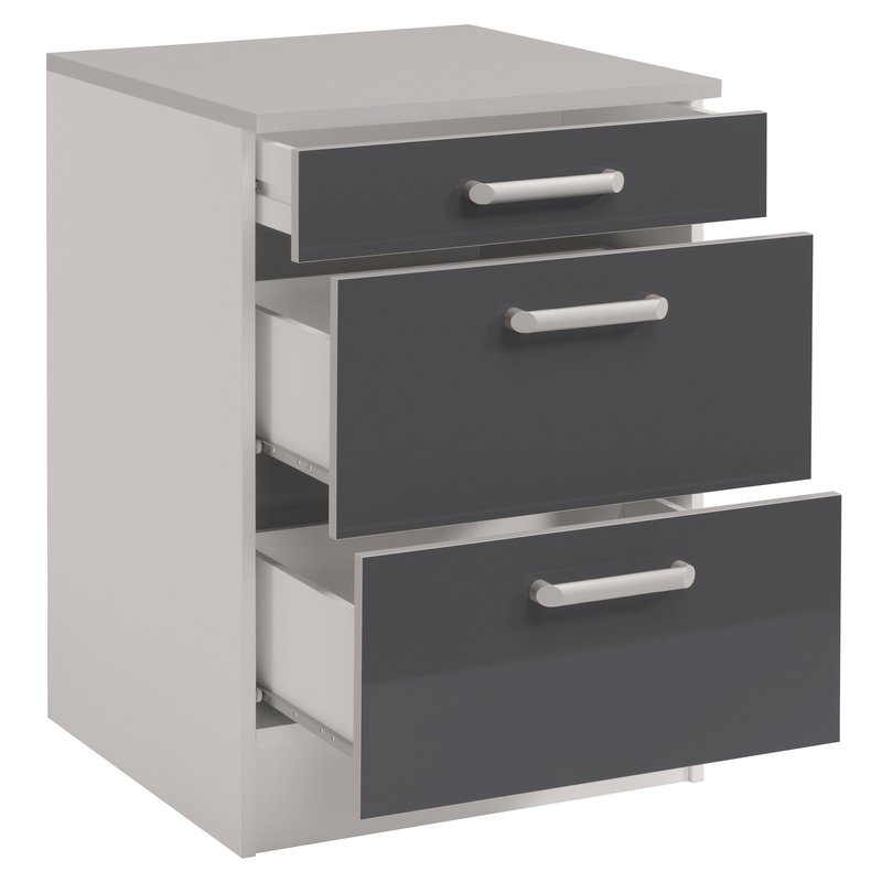 casserolier 3 tiroirs l60xh86xp60cm gris brillant maison et styles. Black Bedroom Furniture Sets. Home Design Ideas
