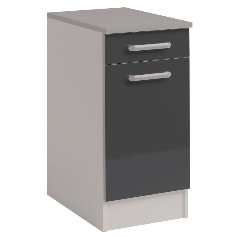 Meuble bas 1 porte 1 tiroir l40xh86xp60cm gris brillant for Meuble cuisine gris brillant