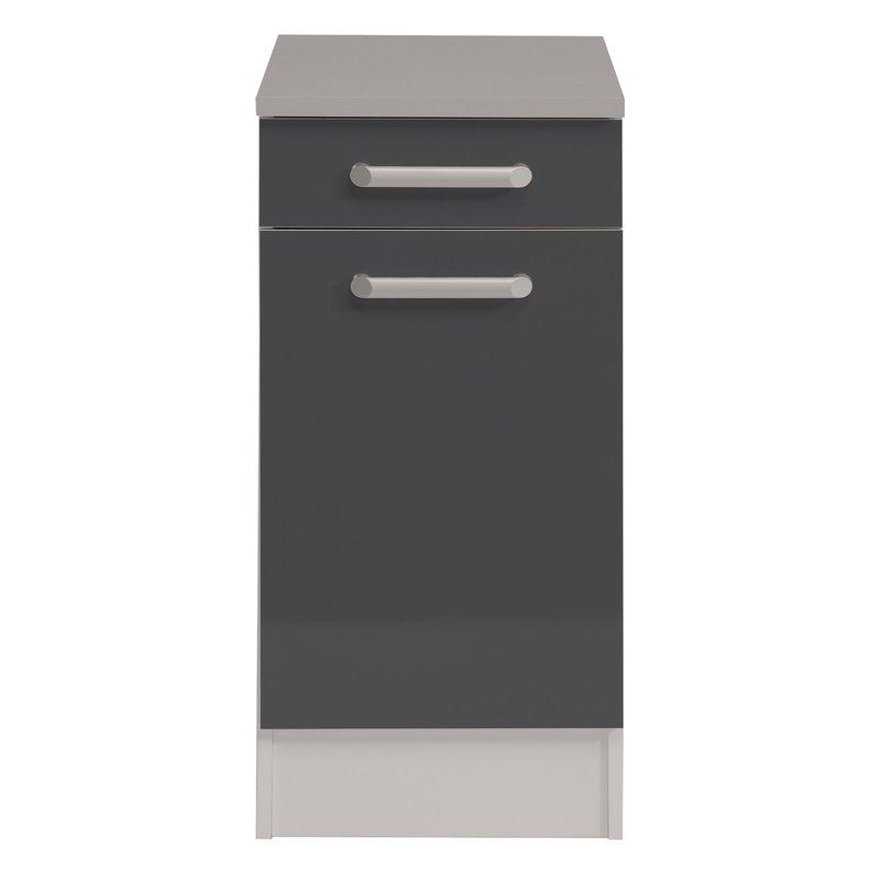 Meuble bas 1 porte 1 tiroir l40xh86xp60cm gris brillant for Meuble bas une porte