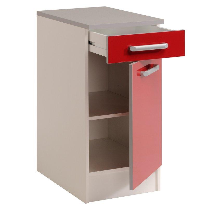 meuble bas 1 porte 1 tiroir l40xh86xp60cm rouge brillant. Black Bedroom Furniture Sets. Home Design Ideas