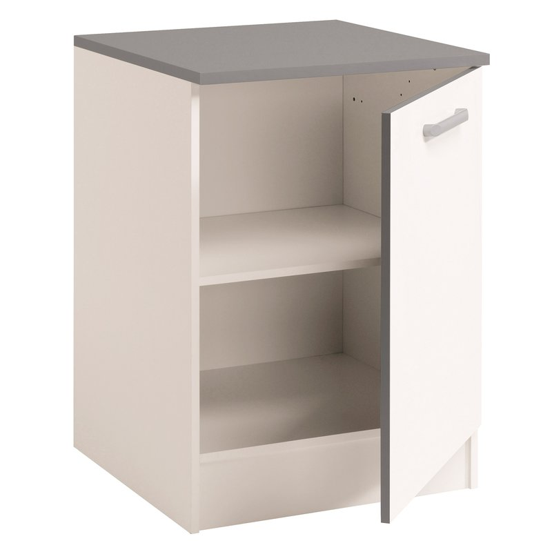 Meuble bas 1 porte l60xh86xp60cm blanc brillant maison for Meuble bas cuisine solde