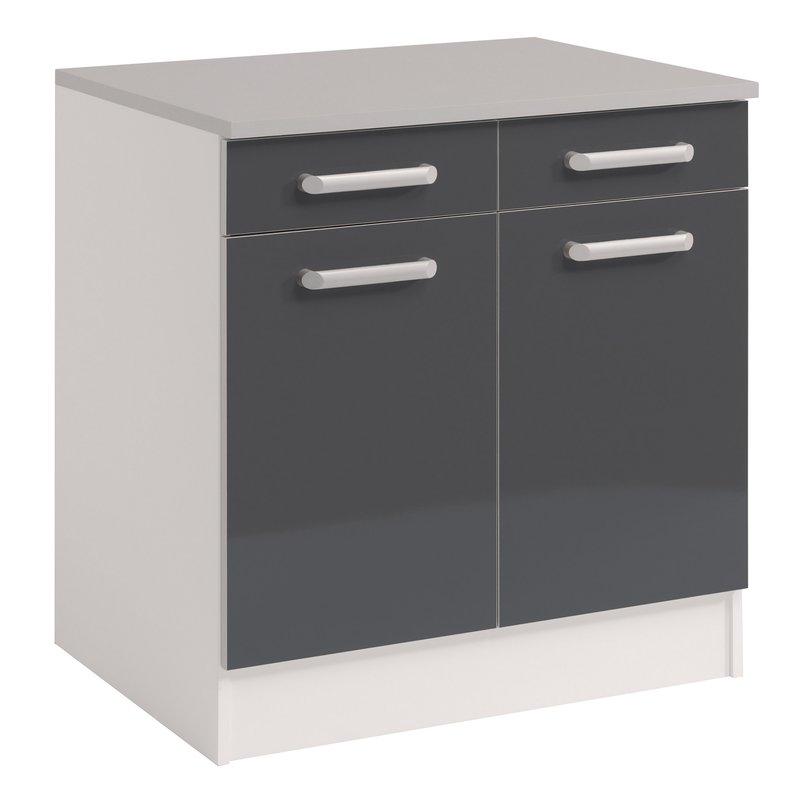 meuble bas 2 portes 2 tiroirs gris brillant maison et. Black Bedroom Furniture Sets. Home Design Ideas