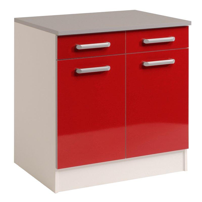 meuble bas 2 portes 2 tiroirs rouge brillant maison et. Black Bedroom Furniture Sets. Home Design Ideas