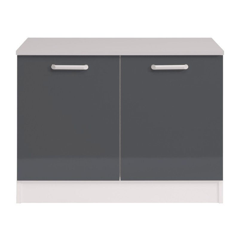 Meuble bas 2 portes l120xh86xp60cm gris brillant for Meuble cuisine gris brillant