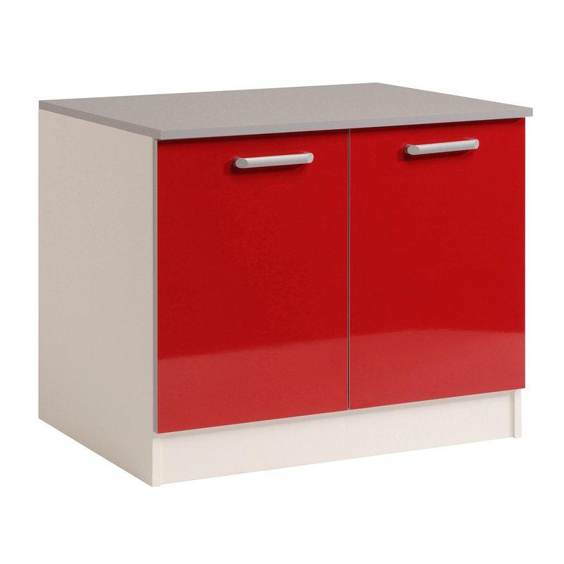 meuble bas 2 portes l120xh86xp60cm rouge brillant. Black Bedroom Furniture Sets. Home Design Ideas