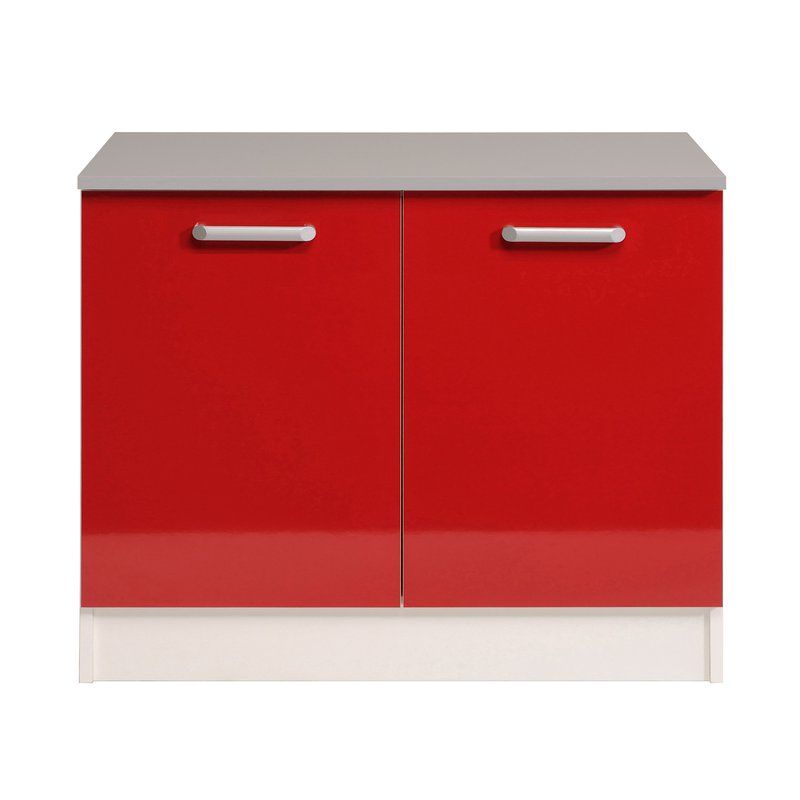 Meuble Bas 2 Portes L120xh86xp60cm Rouge Brillant