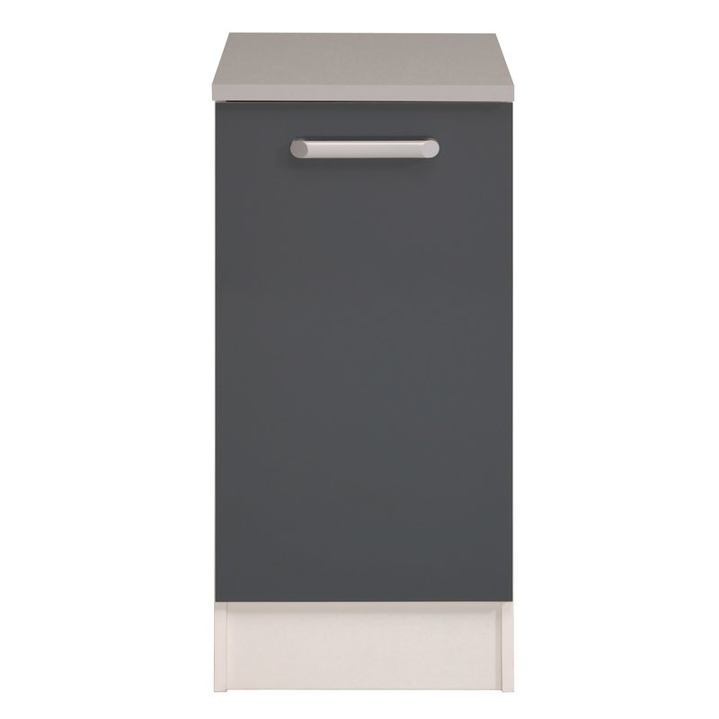 Meuble bas 1 porte l40xh86xp60cm gris brillant maison for Meuble cuisine gris brillant
