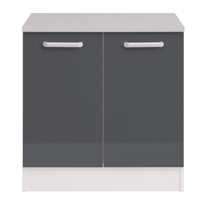 Meuble bas 2 portes l80xh86xp60cm gris brillant maison for Meuble cuisine gris brillant