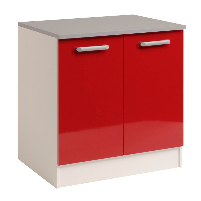 Meuble Bas 2 Portes L80xh86xp60cm Rouge Brillant
