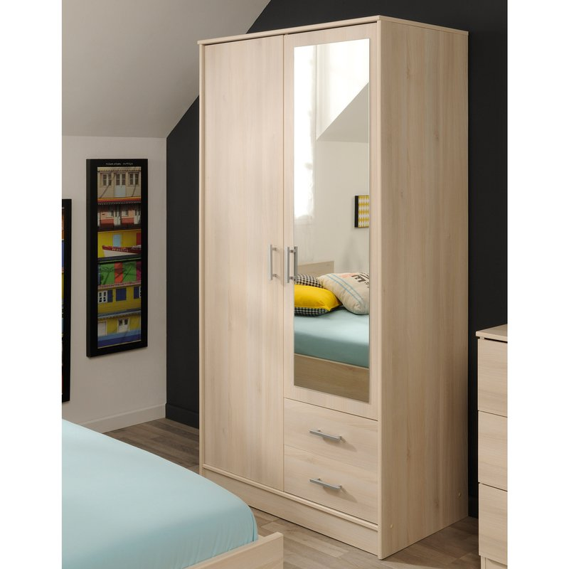 armoire avec miroir 1 2 penderie 1 2 ling re acacia. Black Bedroom Furniture Sets. Home Design Ideas