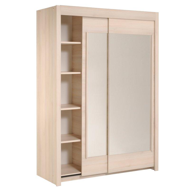 Armoire avec miroir 2 3 penderie 1 3 ling re acacia clair maison et styles - Armoire lingere sans penderie ...