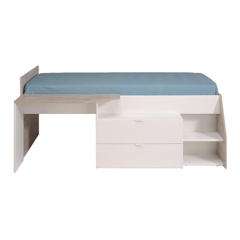 Ensemble lit rangement bureau blanc et gris clair for Bureau blanc et gris