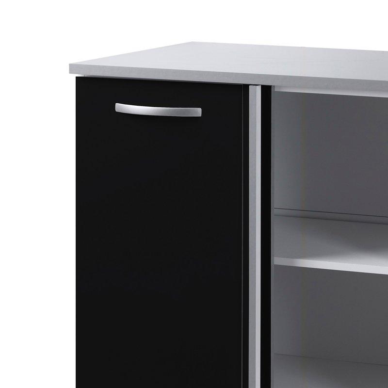 Meuble bas 1 porte 1 niche l100xh86xp60cm noir maison for Meuble bas noir