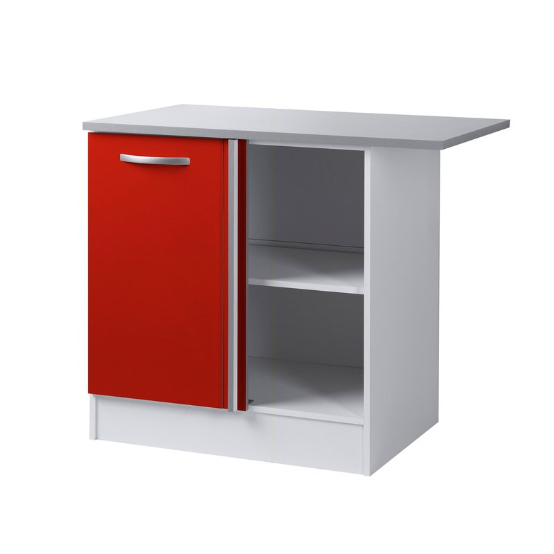 meuble bas 1 porte 1 niche l100xh86xp60cm rouge maison et styles. Black Bedroom Furniture Sets. Home Design Ideas