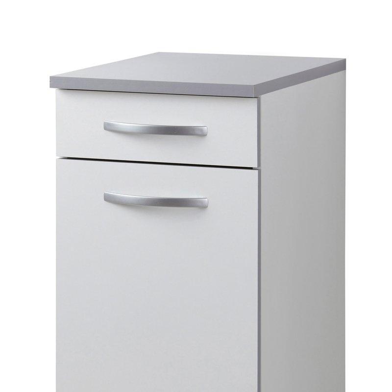 Meuble bas l40xh86xp47cm blanc maison et styles for Meuble bas banc