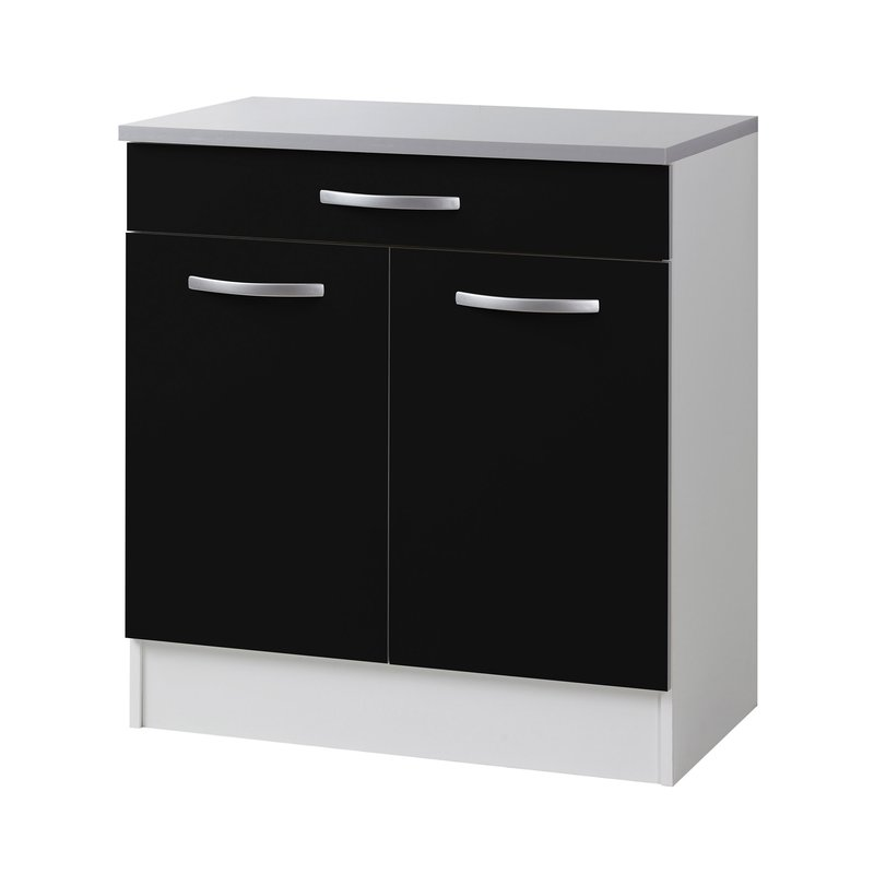meuble bas l80xh86xp47cm noir maison et styles. Black Bedroom Furniture Sets. Home Design Ideas