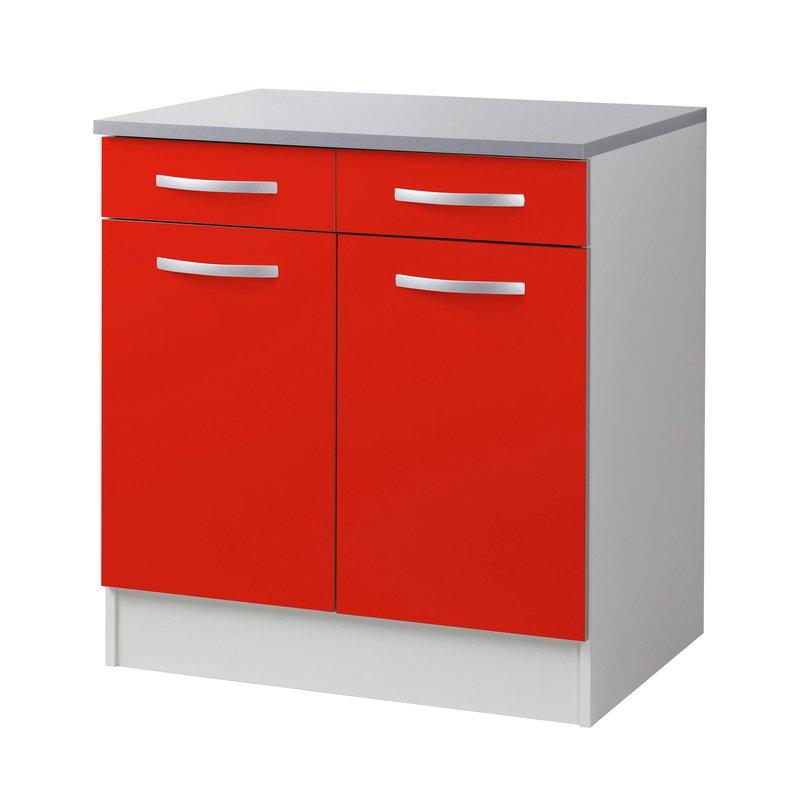 meuble bas l80xh86xp60cm rouge maison et styles. Black Bedroom Furniture Sets. Home Design Ideas