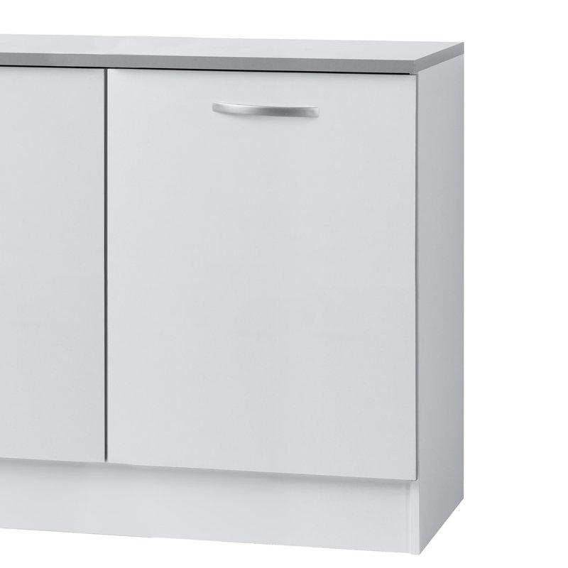 Meuble sous vier l120xh86xp60cm blanc maison et styles for Ensemble evier et meuble sous evier 120 cm