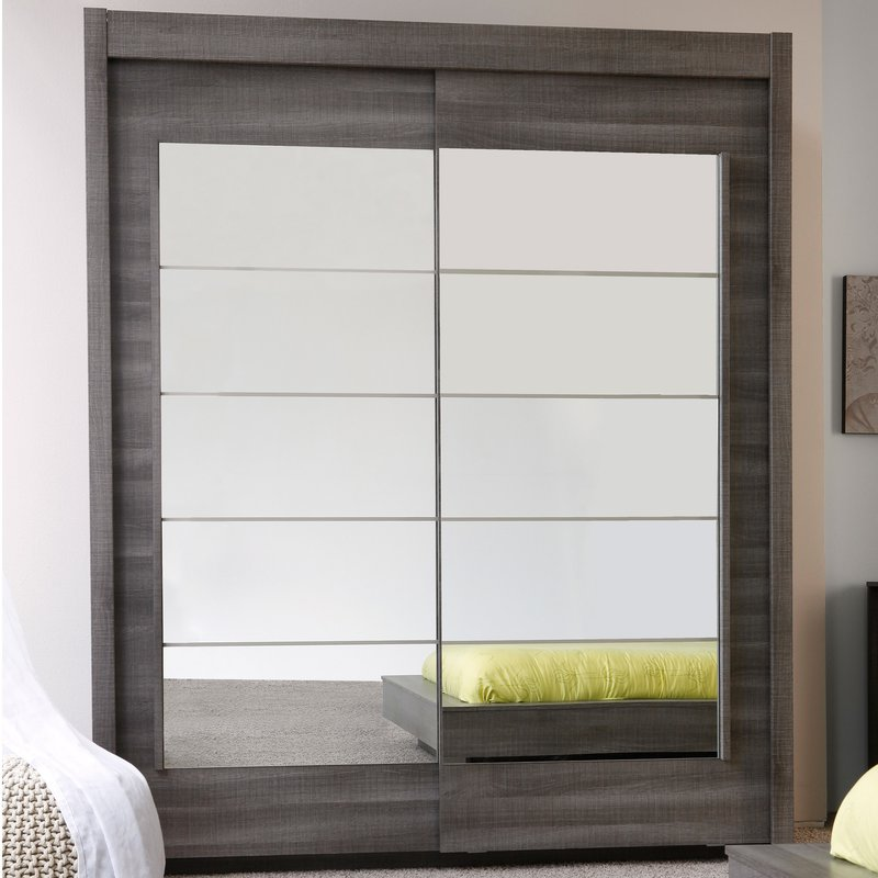 armoire portes coulissantes avec miroir chocolat maison et styles. Black Bedroom Furniture Sets. Home Design Ideas