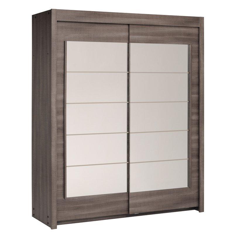 Armoire portes coulissantes avec miroir chocolat - Armoire portes coulissantes miroir ...