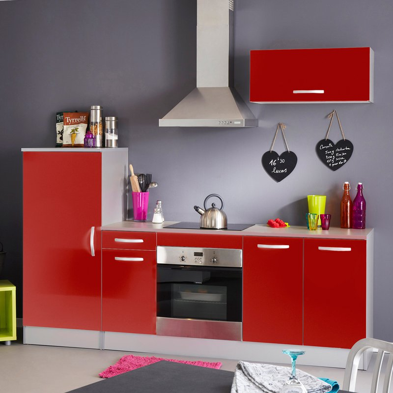 bloc de cuisine finition rouge brillant maison et styles. Black Bedroom Furniture Sets. Home Design Ideas