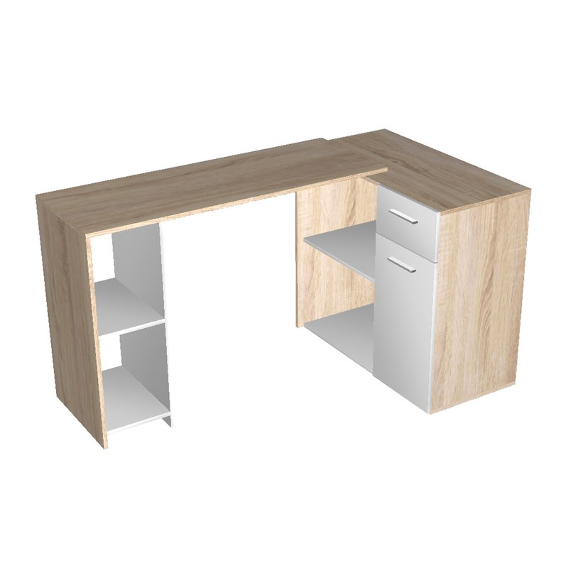 bureau avec plateau pivoltant 1 tiroir ch ne bross et blanc maison et styles. Black Bedroom Furniture Sets. Home Design Ideas