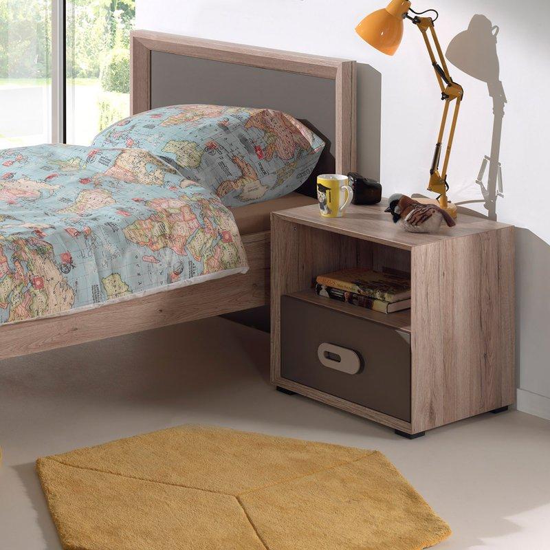 lit 90x200cm chevet bois naturel lola maison et styles. Black Bedroom Furniture Sets. Home Design Ideas