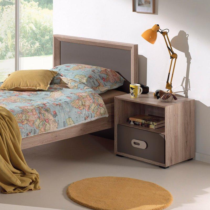lit 90x200cm tiroir chevet bois naturel lola. Black Bedroom Furniture Sets. Home Design Ideas