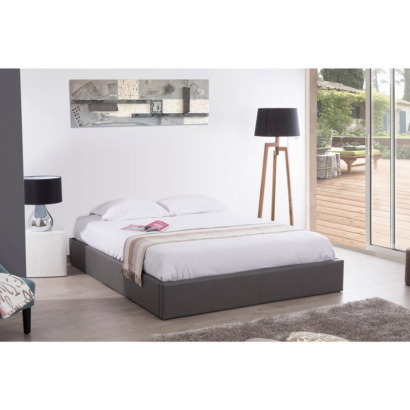 cadre lit coffre 140x190 gris maison et styles. Black Bedroom Furniture Sets. Home Design Ideas