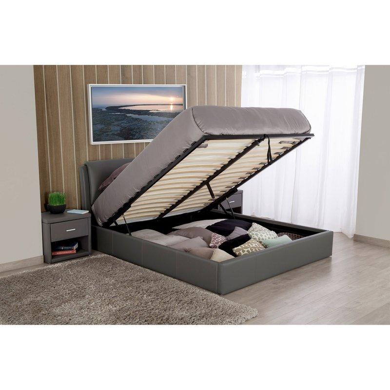 lit coffre 160x200 gris easyclik maison et styles. Black Bedroom Furniture Sets. Home Design Ideas