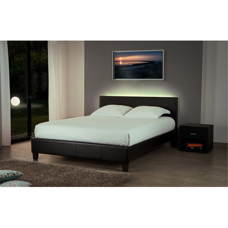 lit 180x200 option led noir bob maison et styles. Black Bedroom Furniture Sets. Home Design Ideas