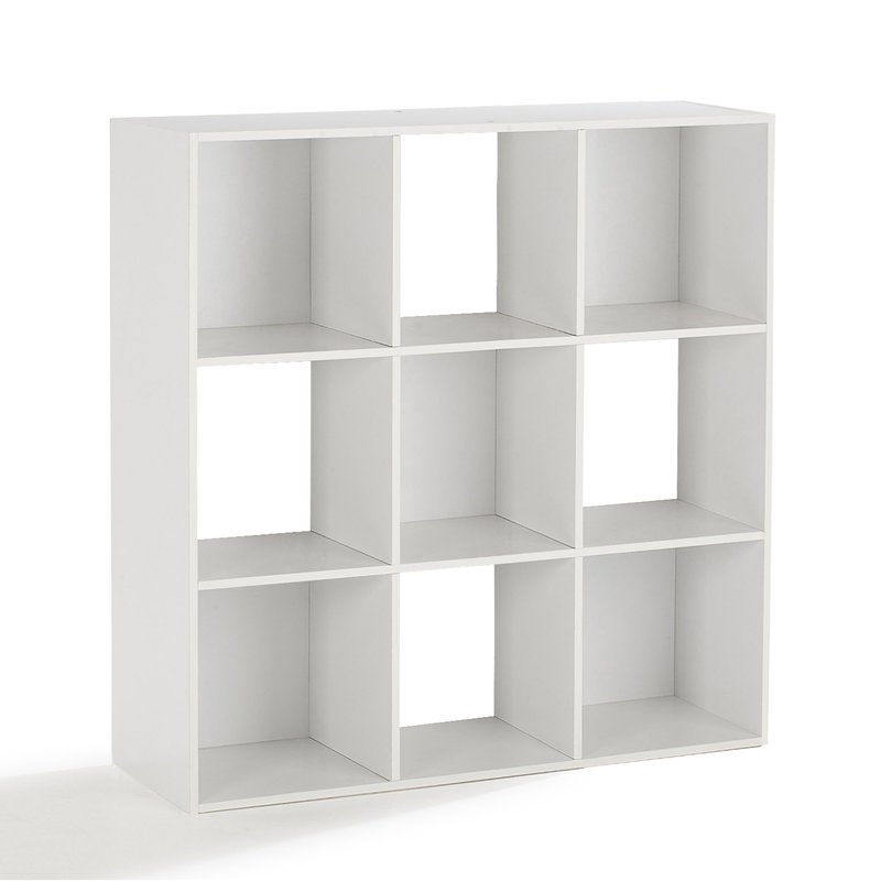 rangement 9 cases papier d cor blanc maison et styles. Black Bedroom Furniture Sets. Home Design Ideas