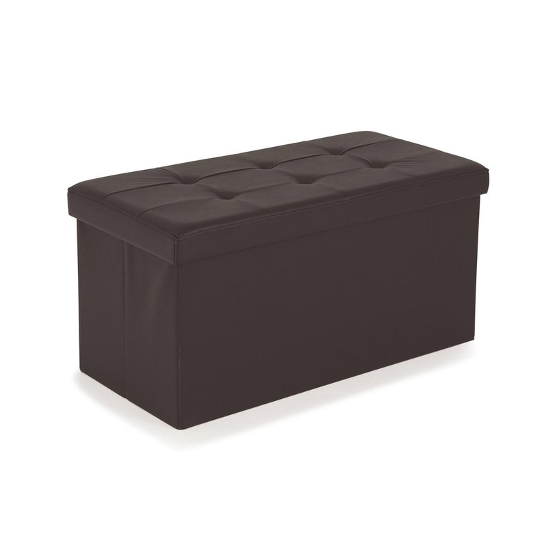 pouf pvc de rangement avec couvercle chocolat maison et styles. Black Bedroom Furniture Sets. Home Design Ideas