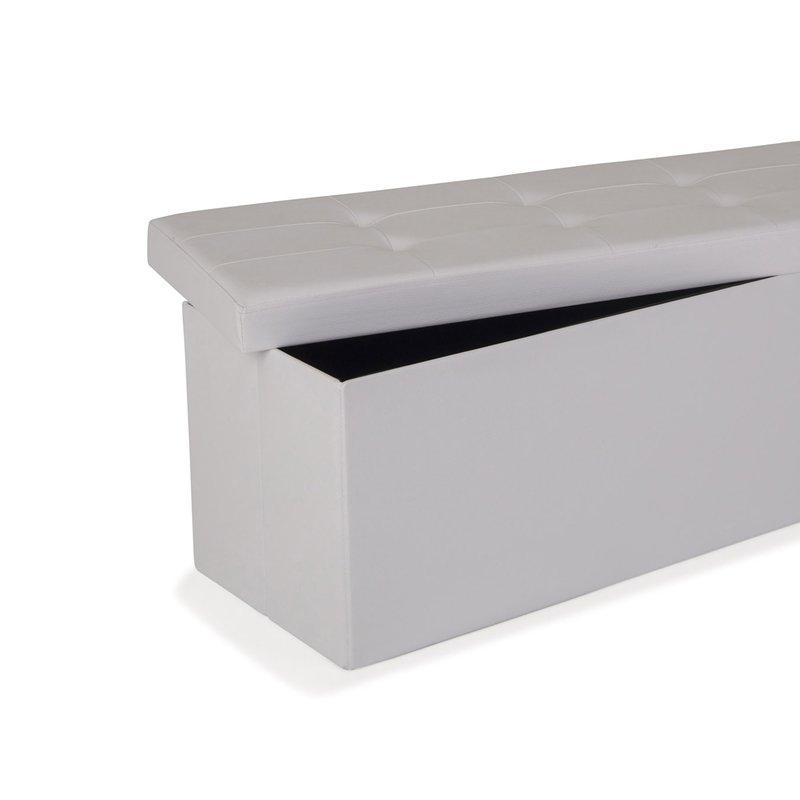 Grand pouf PVC de rangement avec couvercle blanc | Maison et Styles
