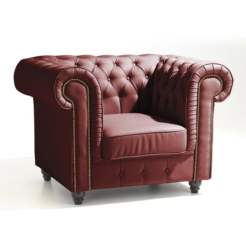 fauteuil chesterfield en cuir coloris rouge maison et styles. Black Bedroom Furniture Sets. Home Design Ideas