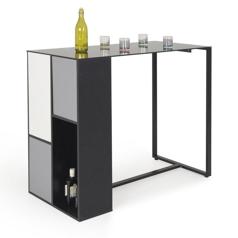 meuble bar en verre coloris blanc gris noir maison et styles. Black Bedroom Furniture Sets. Home Design Ideas
