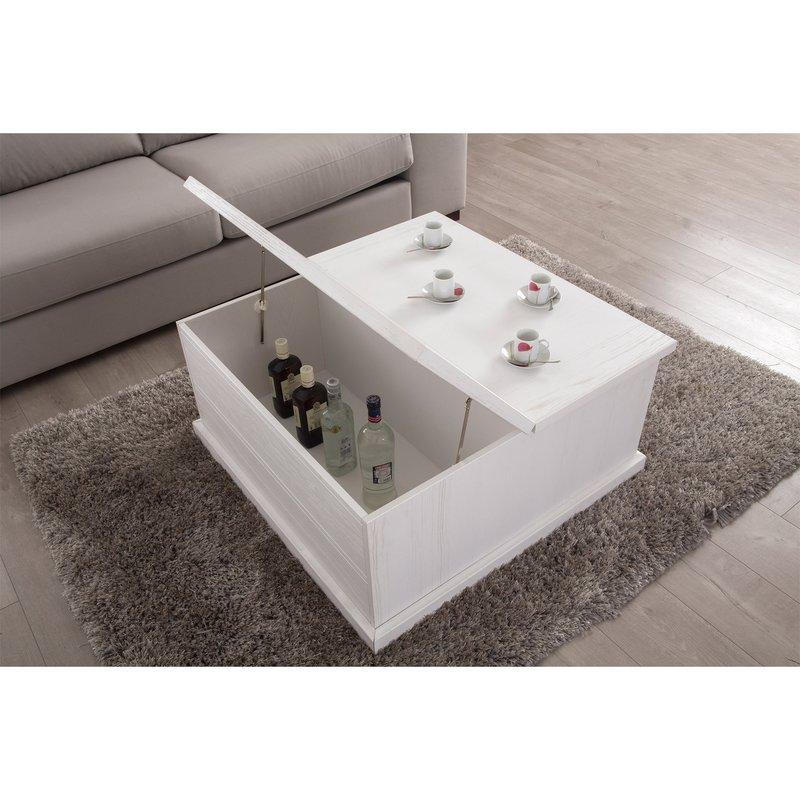 table basse coffre avec plateau relevable et 2 tiroirs laqu blanc maison et styles. Black Bedroom Furniture Sets. Home Design Ideas