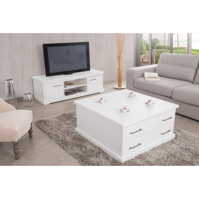 table basse coffre avec plateau relevable et 2 tiroirs laqu blanc maison et styles. Black Bedroom Furniture Sets. Home Design Ideas