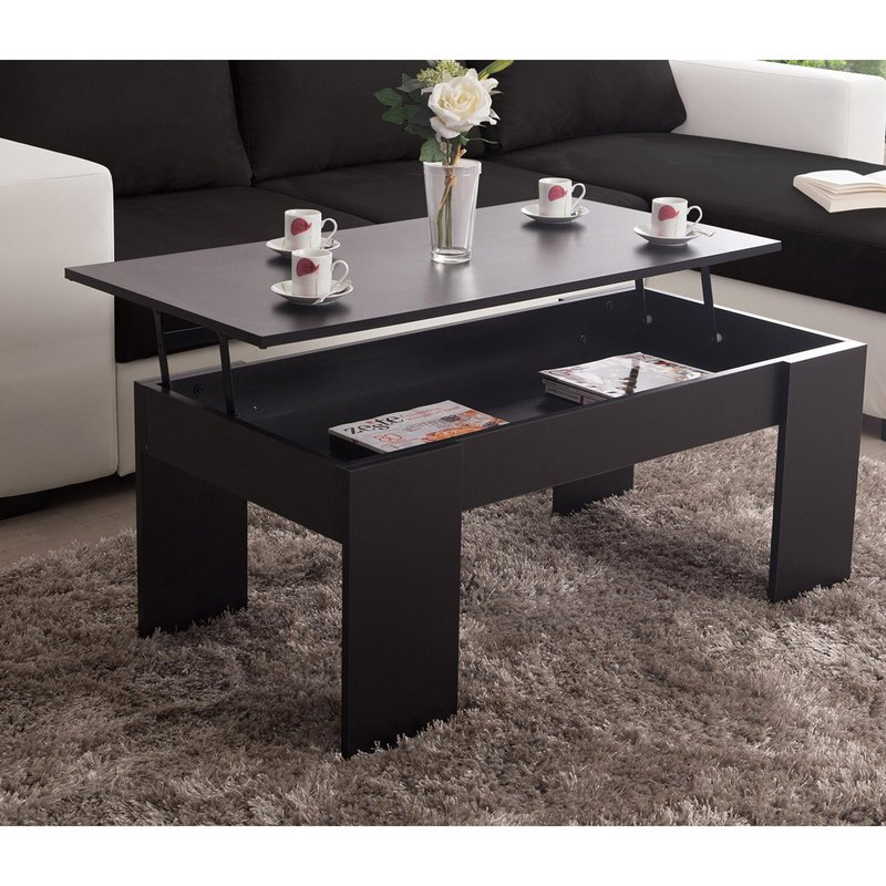 table basse relevable noir evoplus maison et styles. Black Bedroom Furniture Sets. Home Design Ideas