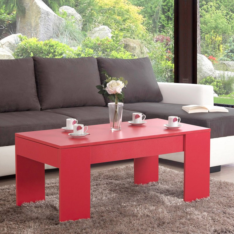table basse relevable rouge evoplus maison et styles. Black Bedroom Furniture Sets. Home Design Ideas
