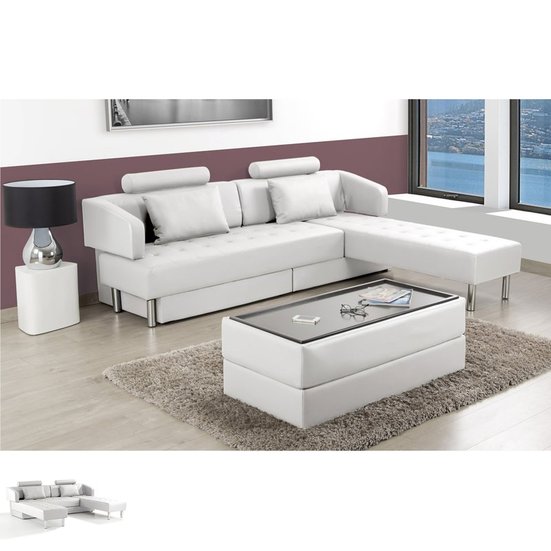 canap d 39 angle modulable avec pouf pu blanc sephia maison et styles. Black Bedroom Furniture Sets. Home Design Ideas