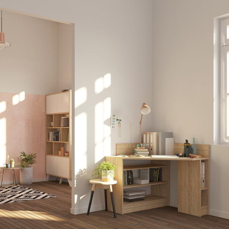 bureau d 39 angle coloris ch ne blanchi maison et styles. Black Bedroom Furniture Sets. Home Design Ideas