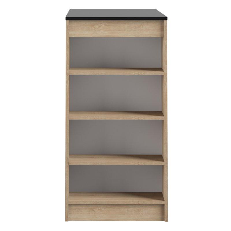 table de bar avec rangements pi tement ch ne plateau noir maison et styles. Black Bedroom Furniture Sets. Home Design Ideas