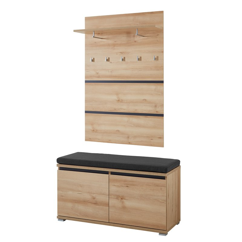 meuble banc chaussures 8 paires avec coussin avec vestiaire en bois maison et styles. Black Bedroom Furniture Sets. Home Design Ideas